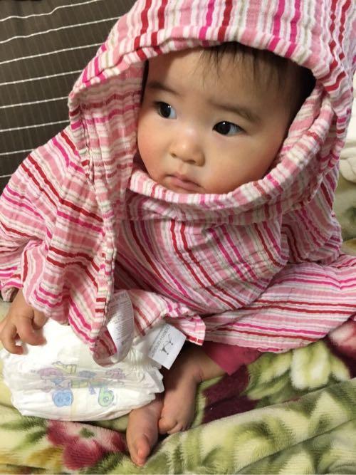 京都でついに娘が朝のごあいさつをしました。