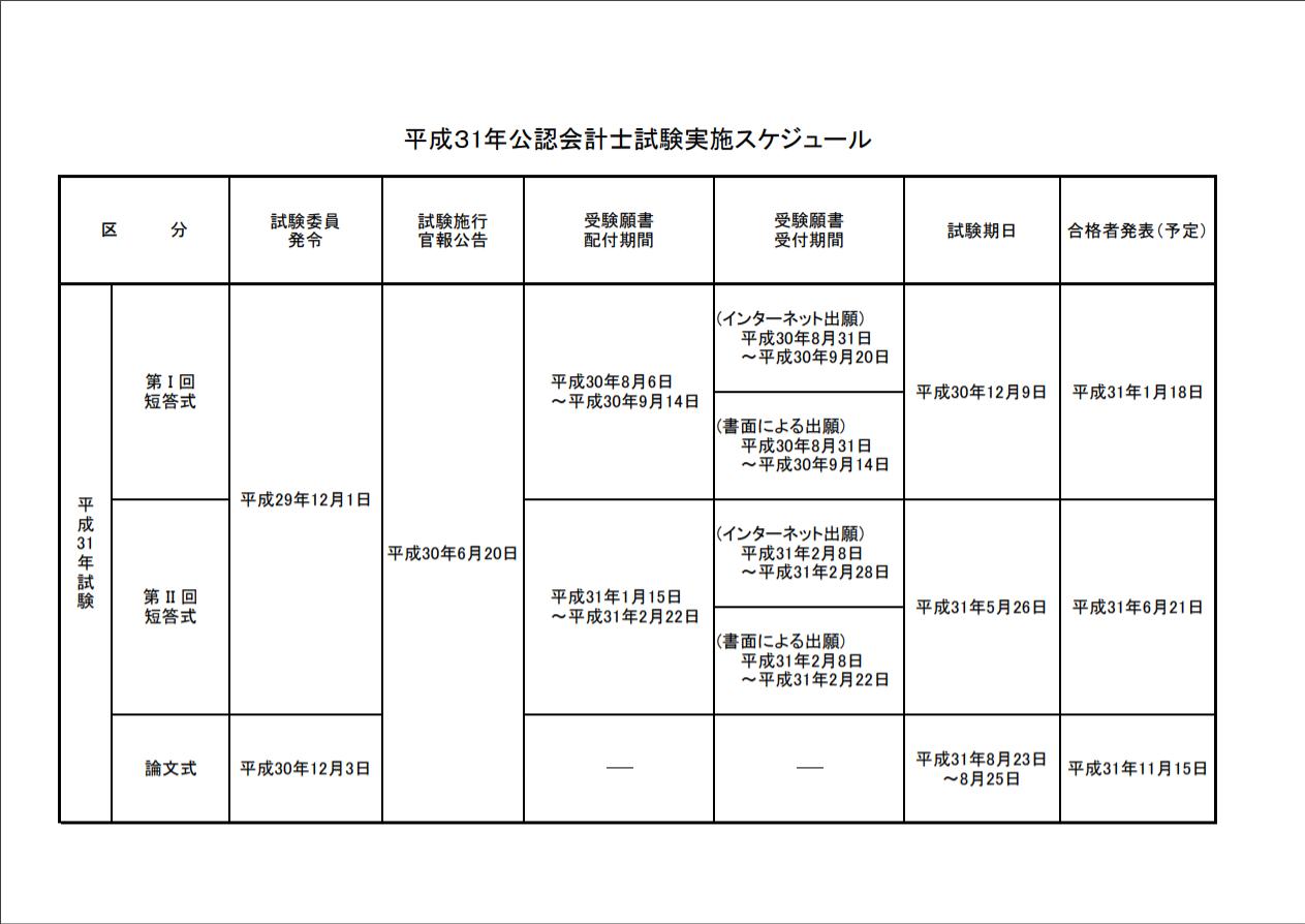 【会計士】平成31年試験のスケジュールが確定しました。